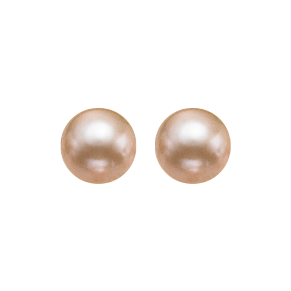 Gold Freshwater Pearl Stud Earrings In Sterling Silver (8MM)