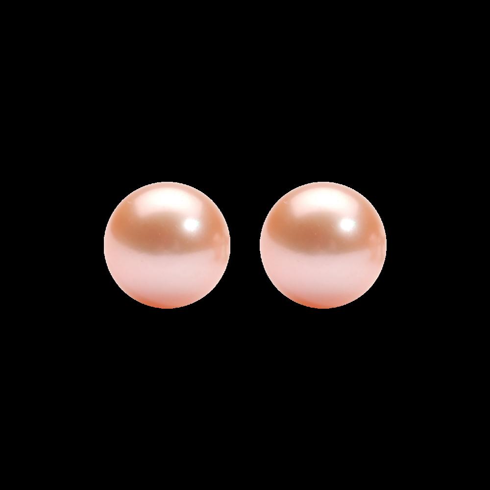 Orange Freshwater Pearl Stud Earrings In Sterling Silver (6MM)