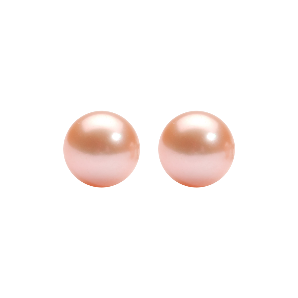 Orange Freshwater Pearl Stud Earrings In Sterling Silver (7MM)