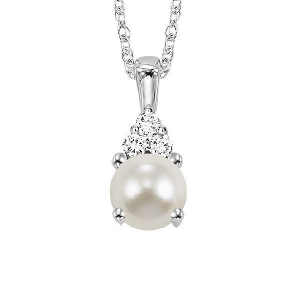 Oval Pearl & Diamond Halo Pendant In 10K White Gold (1/30 Ct. Tw.)