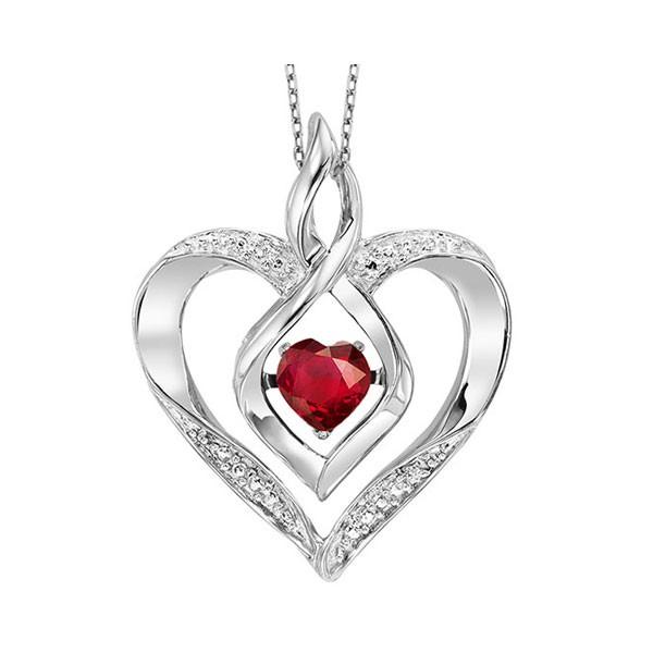Synthetic Garnet Heart Infinity Symbol ROL Rhythm Of Love Pendant In Sterling Silver