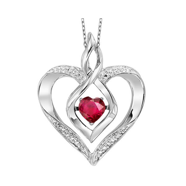 Synthetic Ruby Heart Infinity Symbol ROL Rhythm Of Love Pendant In Sterling Silver