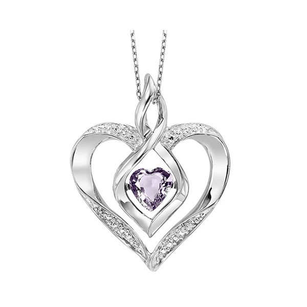 Diamond & Synthetic Alexandrite Heart Infinity Symbol ROL Rhythm Of Love Pendant In Sterling Silver