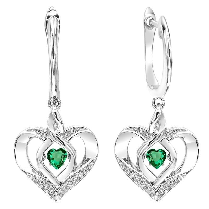 Emerald Heart Earrings In Sterling Silver