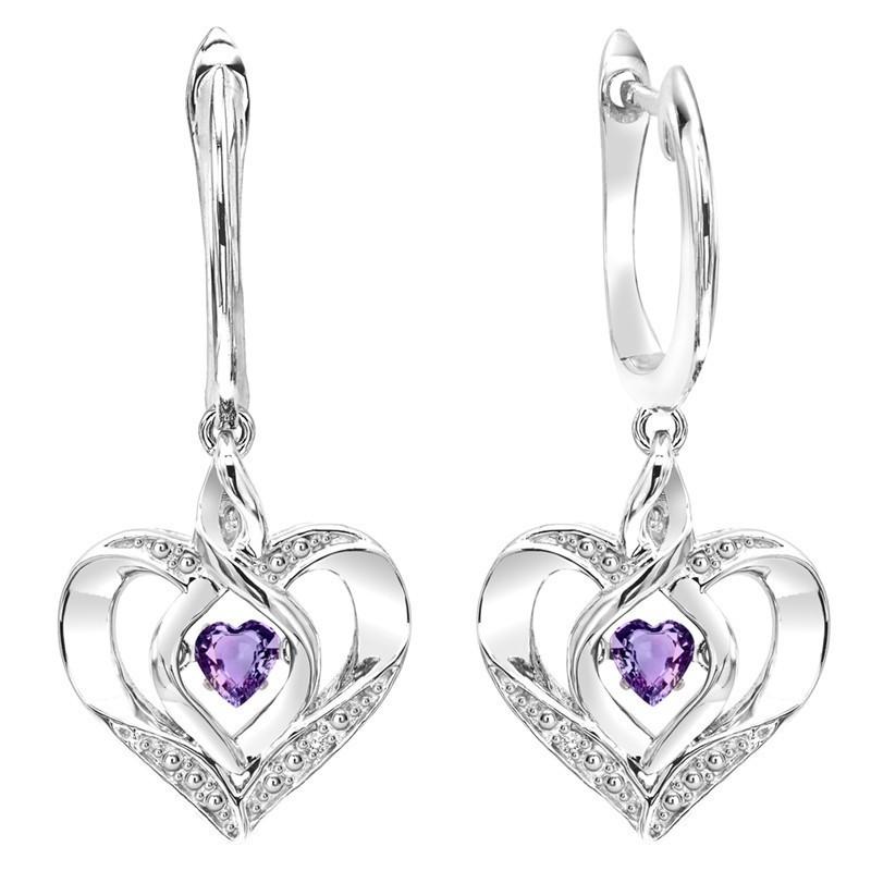 Amethyst Heart Earrings In Sterling Silver