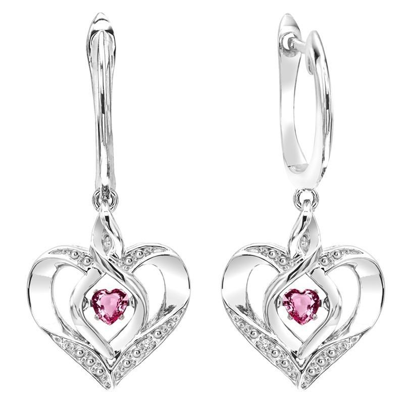 Pink Tourmaline Heart Earrings In Sterling Silver