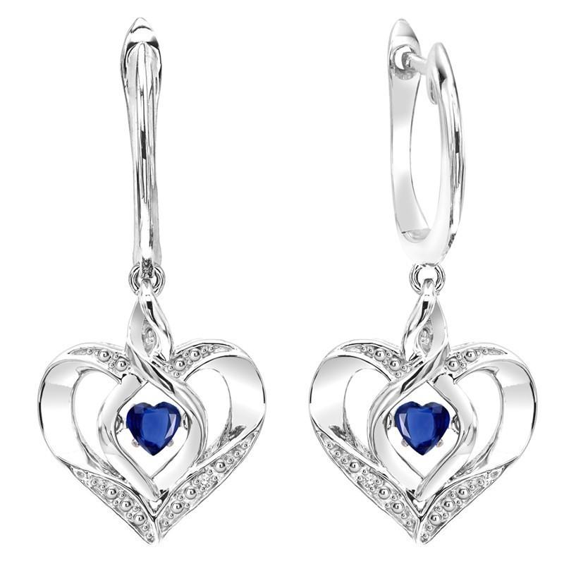 Sapphire Heart Earrings In Sterling Silver