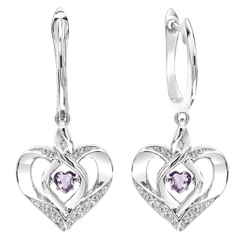 Synthetic Alexandrite Heart Earrings In Sterling Silver
