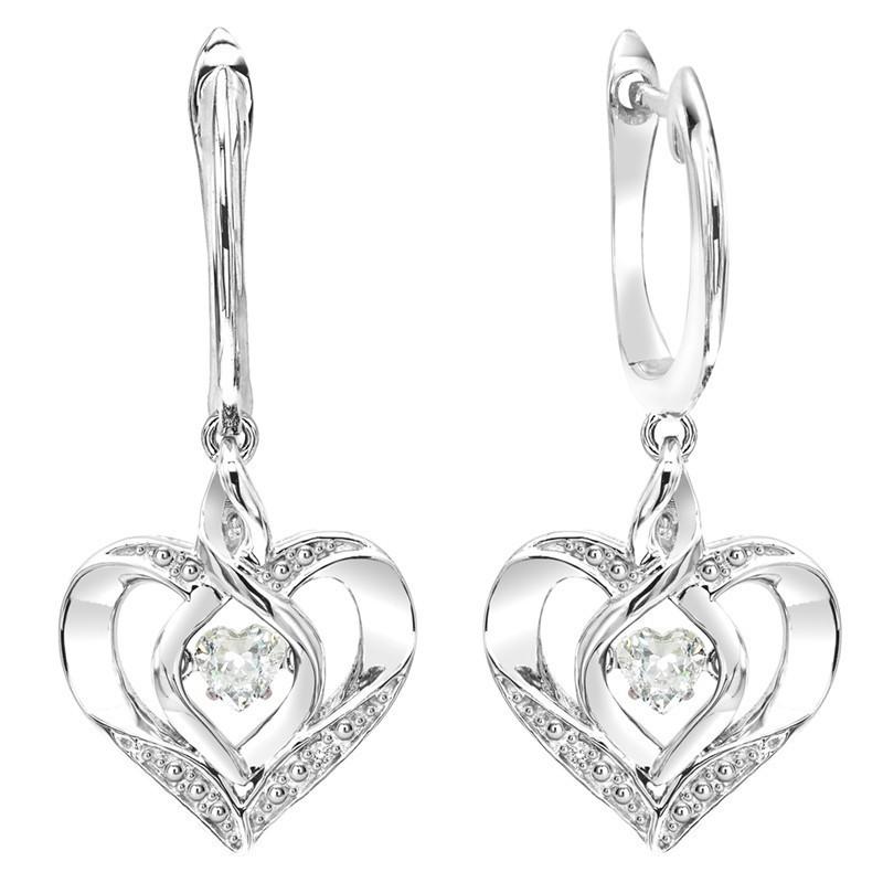 White Topaz Alexandrite Heart Earrings In Sterling Silver