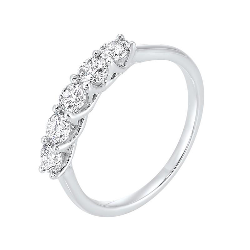 5 Stone Shared Prong Diamond Band 14K White Gold (1 Ct. Tw.)