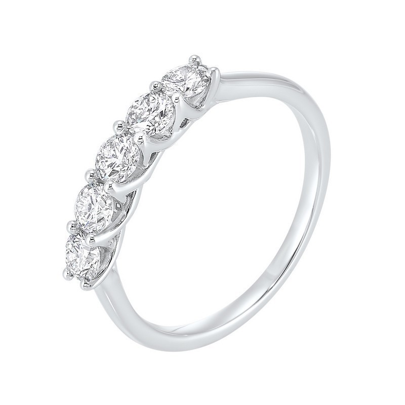 14K White Gold 5 Stone Shared Prong Diamond Band 1 (1/4 Ct. Tw.)