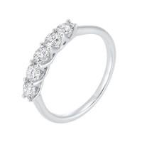 14K White Gold 5 Stone Shared Prong Diamond Band 1 (1/4 Ct. Tw.)