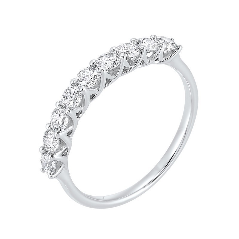 14K White Gold 9 Stone Shared Prong Diamond Band (3/4 Ct. Tw.)