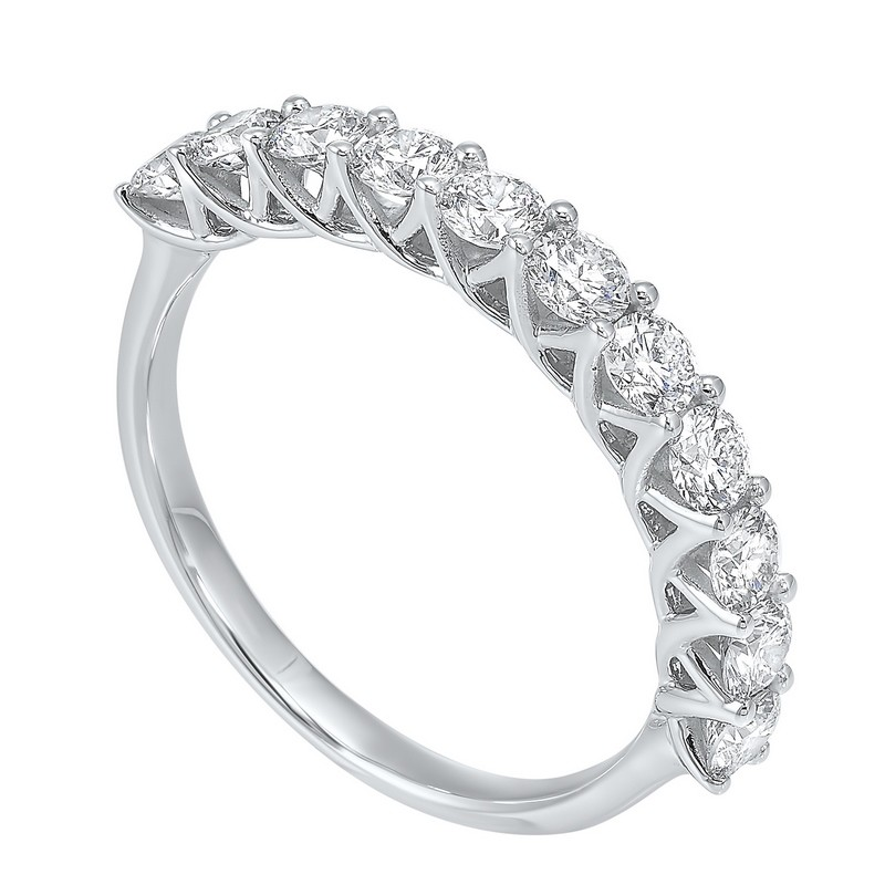 14K White Gold 11 Stone Shared Prong Diamond Band (1 Ct. Tw.)