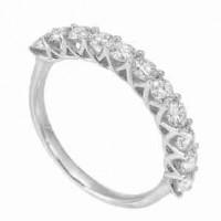 14K White Gold 11 Stone Shared Prong Diamond Band (1 Ct. Tw.)
