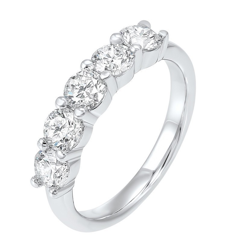 Five Stone Shared Prong Diamond Band In 14K White Gold (1 1/2 Ct. Tw.)