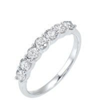 14K White Gold 7 Stone Shared Prong Diamond Band (3/4 Ct. Tw.)