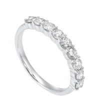 14K White Gold 9 Stone Shared Prong Diamond Band (3/4 Ct. Tw.)