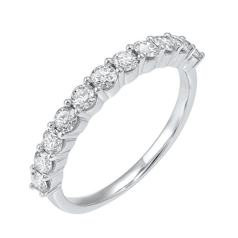 14K White Gold 11 Stone Shared Prong Diamond Band (3/4 Ct. Tw.)