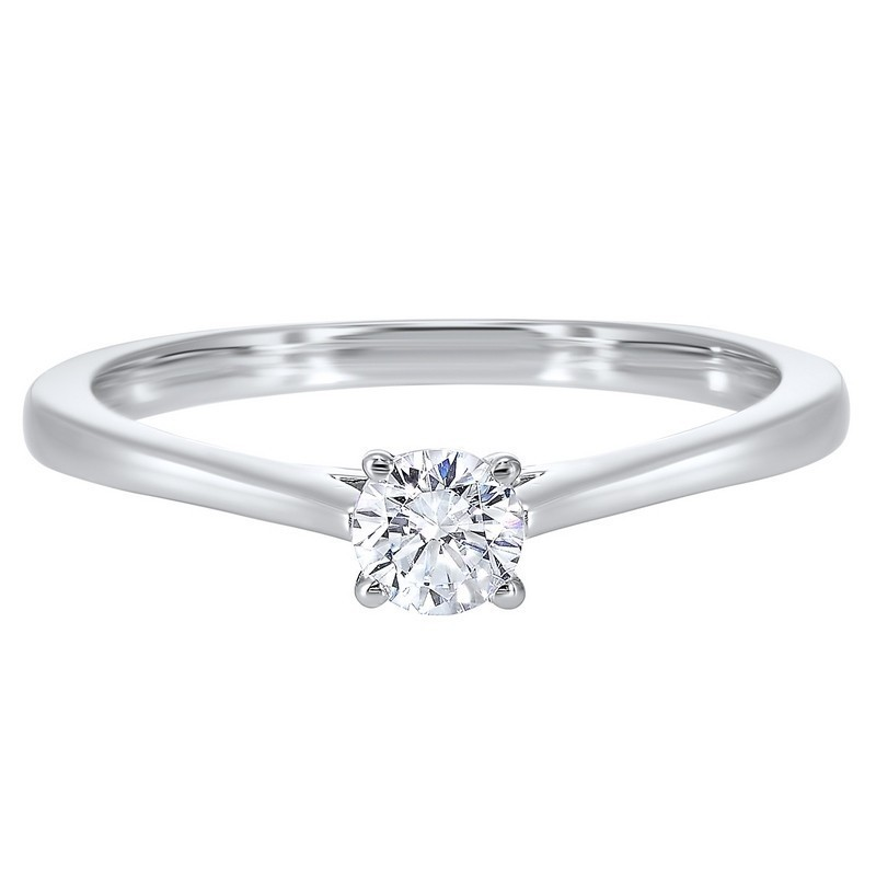 Classic Solitaire Diamond Engagement Ring In 14K White Gold (1/3 Ct. Tw.)