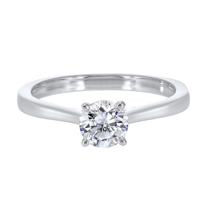 Diamond Round Classic Solitaire Engagement Ring In 14k White Gold (1ctw)