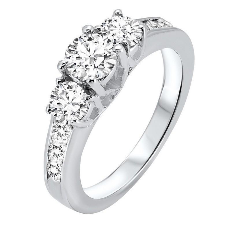 Three Stone Plus Diamond Ring In 14K White Gold (2 Ct. Tw)