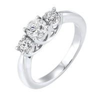 14K White Gold 3 Stone Round Prong Ring (1/2 Ct. Tw.)