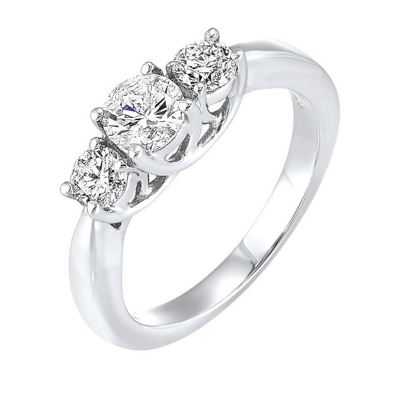14K White Gold 3 Stone Round Prong Ring (1 Ct. Tw.)