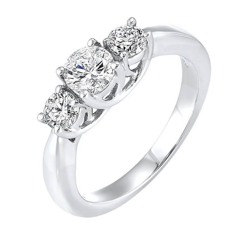 14K White Gold 3 Stone Round Prong Ring (3/4 Ct. Tw.)