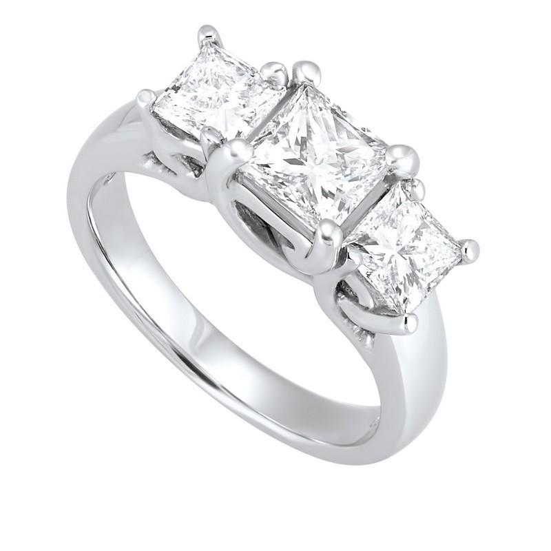 14K White Gold 3 Stone Princess Prong Ring (1 1/2 Ct. Tw.)