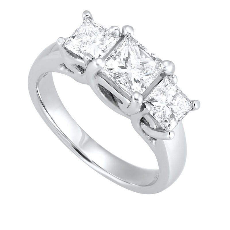 14K White Gold 3 Stone Princess Prong Ring (2 Ct. Tw.)