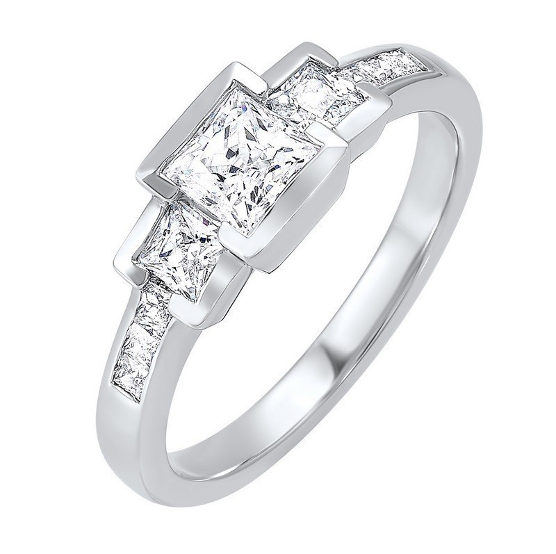 14K White Gold 3 Stone Princess Bezel Ring (1 Ct. Tw.)