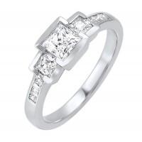 14K White Gold 3 Stone Princess Bezel Ring (1 1/2 Ct. Tw.)