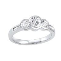 14K White Gold 3 Stone Round Bezel Ring (1/2 Ct. Tw.)
