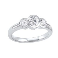 14K White Gold 3 Stone Round Bezel Ring (1 Ct. Tw.)