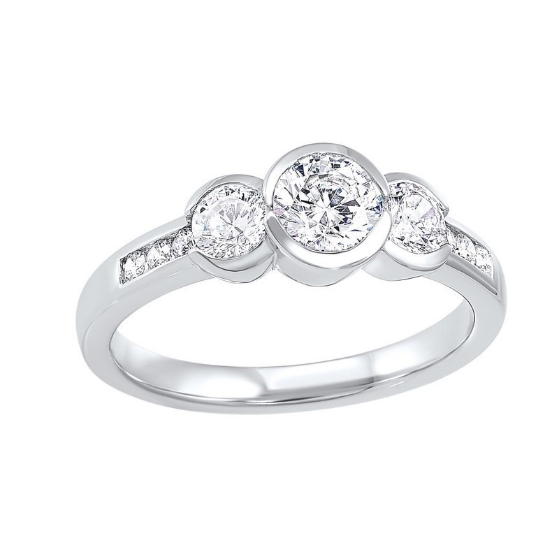 14K White Gold 3 Stone Round Bezel Ring (1 1/2 Ct. Tw.)