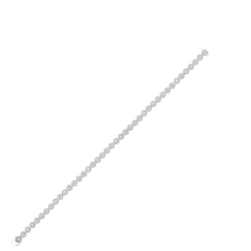Diamond Halo Circle Link Tennis Bracelet In 14k White Gold (2ctw)