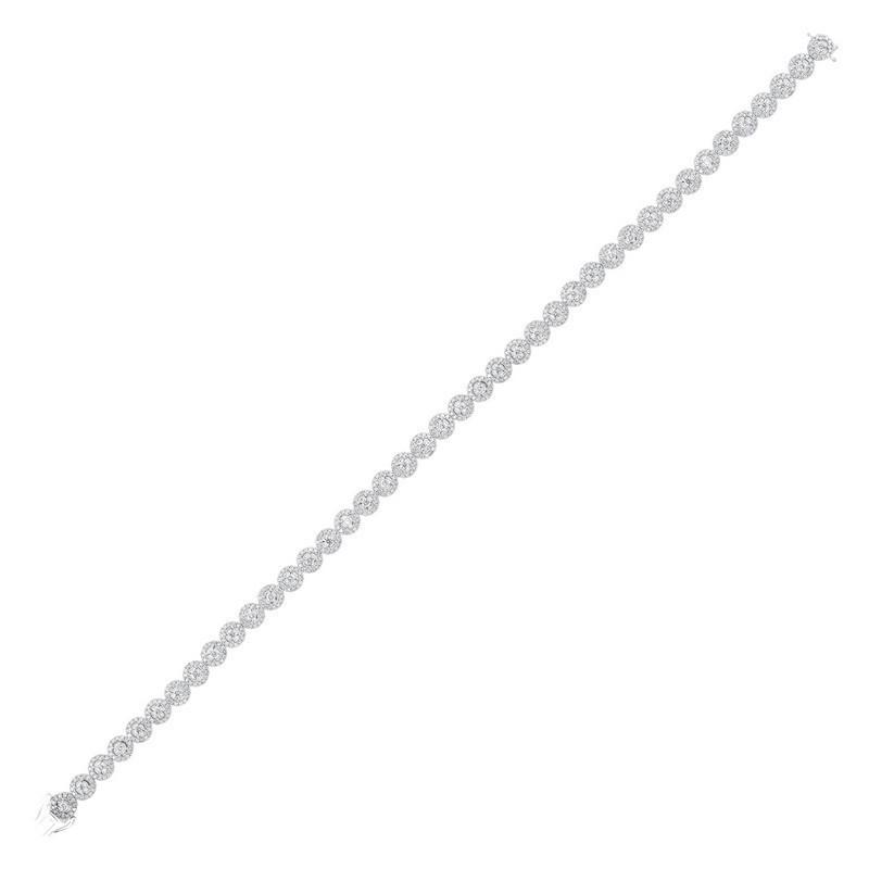 Diamond Halo Circle Link Tennis Bracelet In 14k White Gold (3ctw)