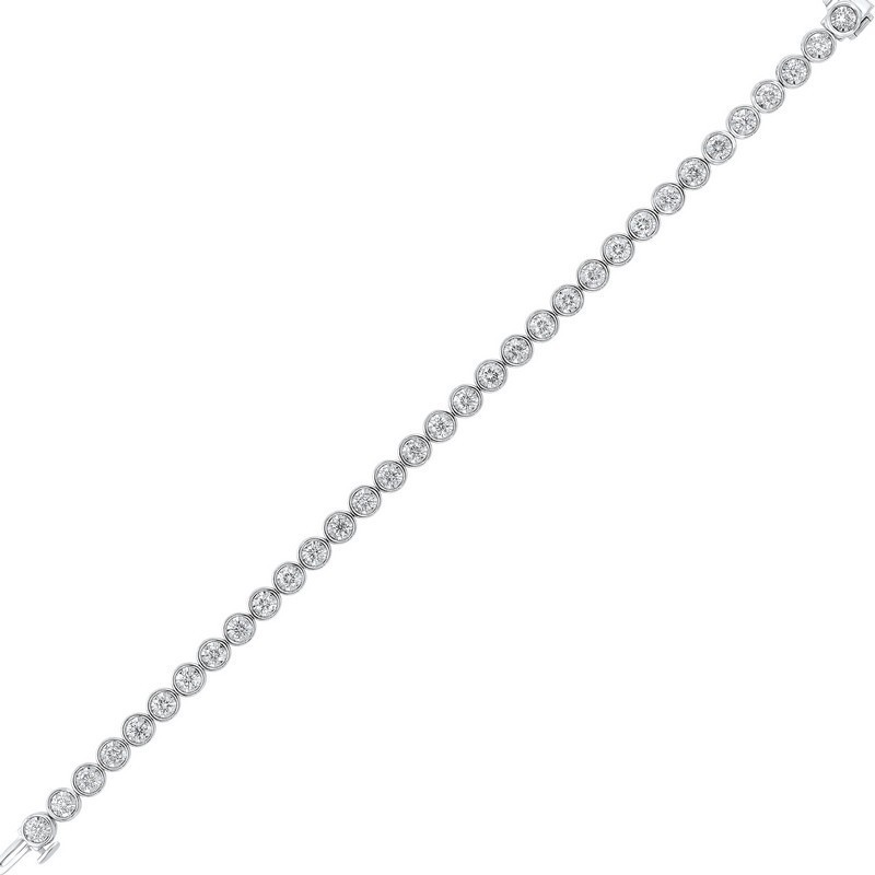 Tru Reflections Bezel Set Diamond Bracelet In 14K White Gold (3 Ct. Tw.)