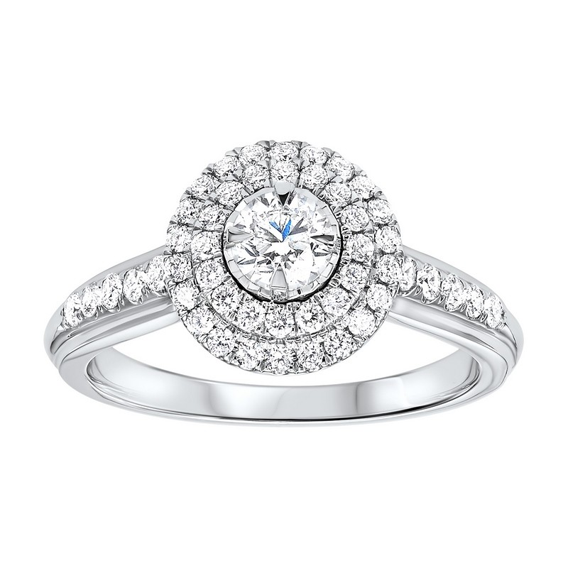 14K White Gold Tru-Reflections Round Double Halo Prong Ring (3/4 Ct. Tw.)