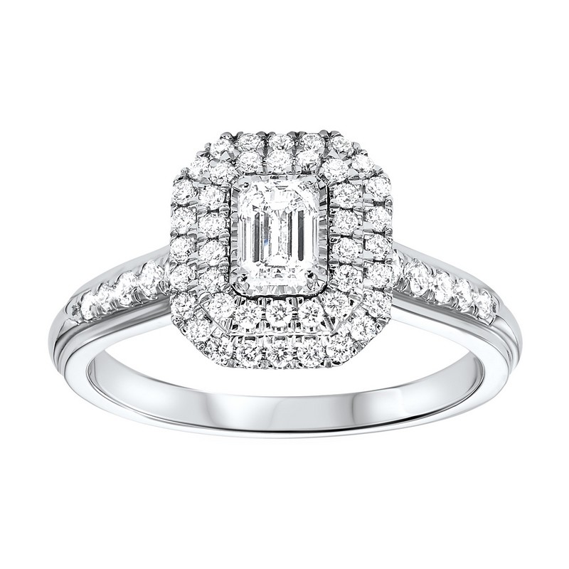 14K White Gold Tru-Reflections Emerald Double Halo Prong Ring (3/4 Ct. Tw.)