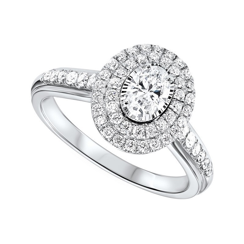 14K White Gold Tru-Reflections Oval Double Halo Prong Ring (3/4 Ct. Tw.)