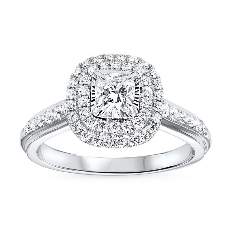 14K White Gold Tru-Reflections Cushion Double Halo Prong Ring (3/4 Ct. Tw.)