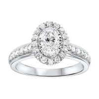 14K White Gold Tru-Reflections Oval Halo Prong Ring (1 Ct. Tw.)