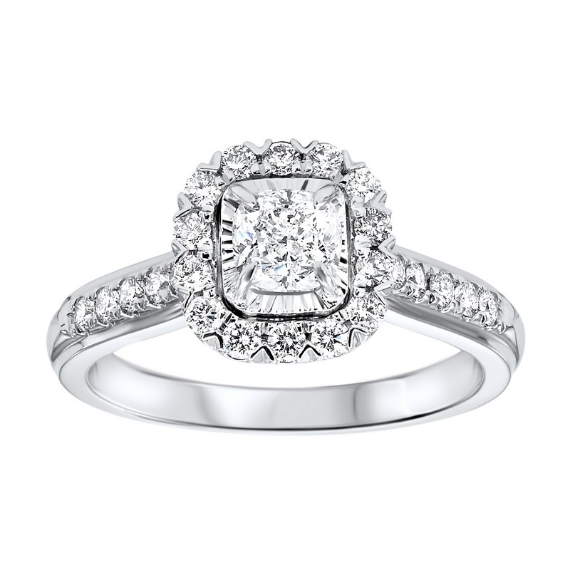 14K White Gold Tru-Reflections Cushion Halo Prong Ring (1 Ct. Tw.)