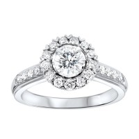 14K White Gold Tru-Reflections Round Halo Prong Ring (1 Ct. Tw.)