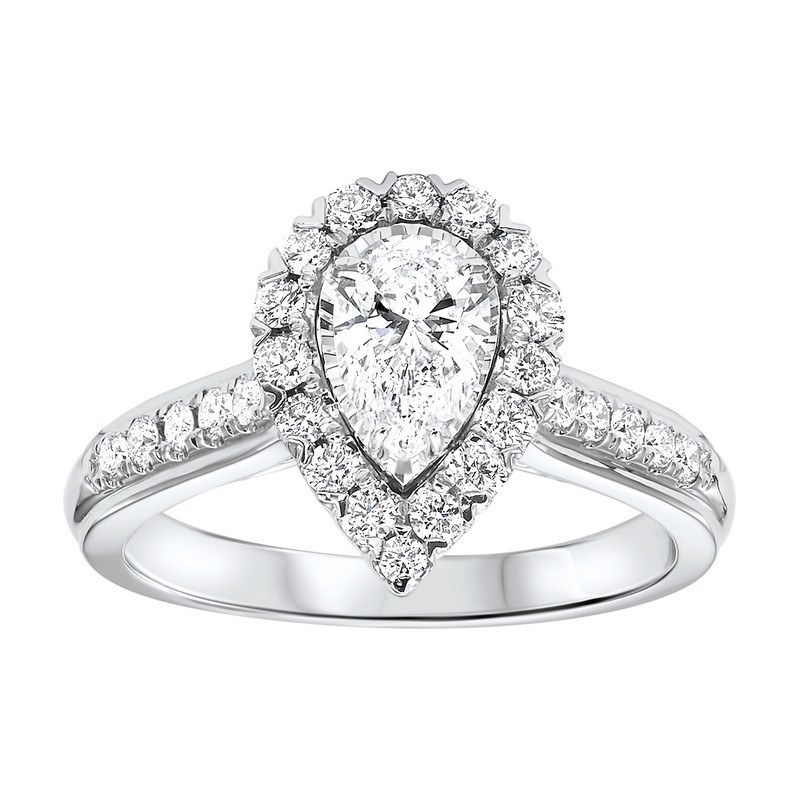 14K White Gold Tru-Reflections Pear Halo Prong Ring (1 Ct. Tw.)