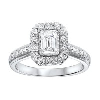 14K White Gold Tru-Reflections Emerald Halo Prong Ring (1 Ct. Tw.)