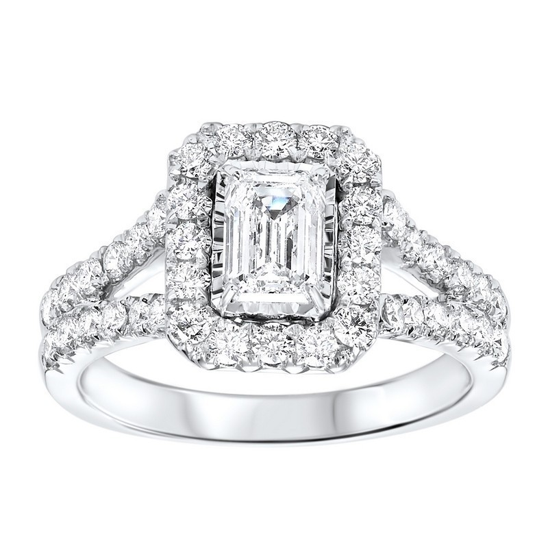 14K White Gold Tru-Reflections Emerald Halo Prong Ring 1 (5/8 Ct. Tw.)