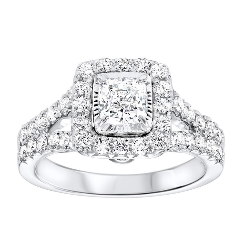 14K White Gold Tru-Reflections Cushion Halo Prong Ring (1 1/2 Ct. Tw.)